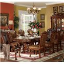 Acme Furniture Dresden Oval Dining Table w/ Extension Leaves - Shown with Side and Arm Chairs