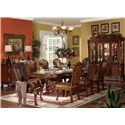 Acme Furniture Dresden Oval Dining Table w/ Extension Leaves - Shown in Room Setting with China, Sideboard, Side and Arm Chairs