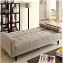Acme Furniture Edana Sand Linen Adjustable Sofa with 2 Pillows - Shown Adjusted