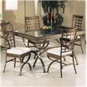 Acme Furniture Egyptian Rectangular Dining Table with Glass Table Top - Shown with Dining Side Chairs