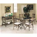 Acme Furniture Egyptian Rectangular Dining Table with Glass Table Top - Shown with Dining Side Chairs & Server