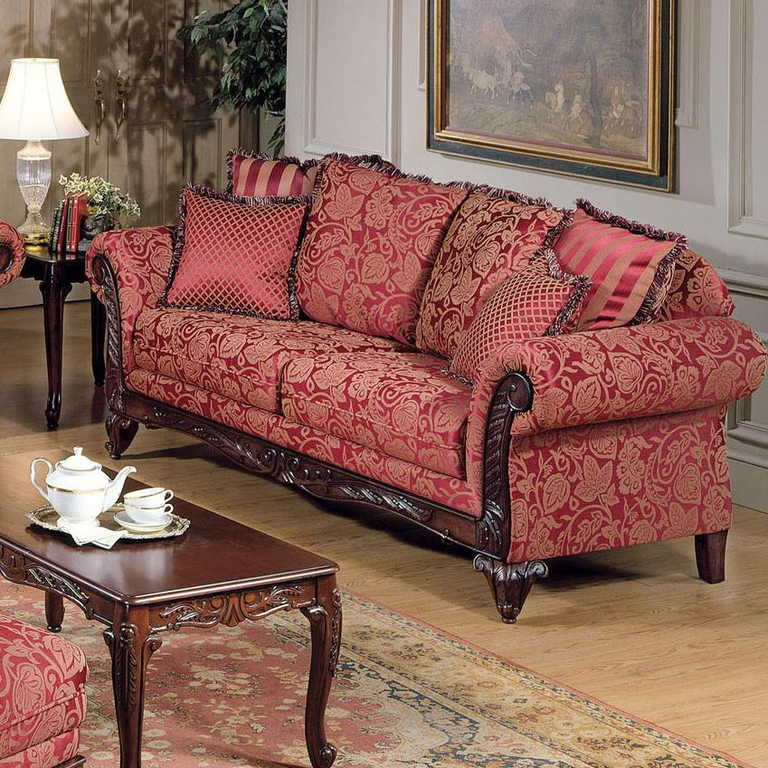Acme Furniture Fairfax Magenta Traditional Sofa Nassau