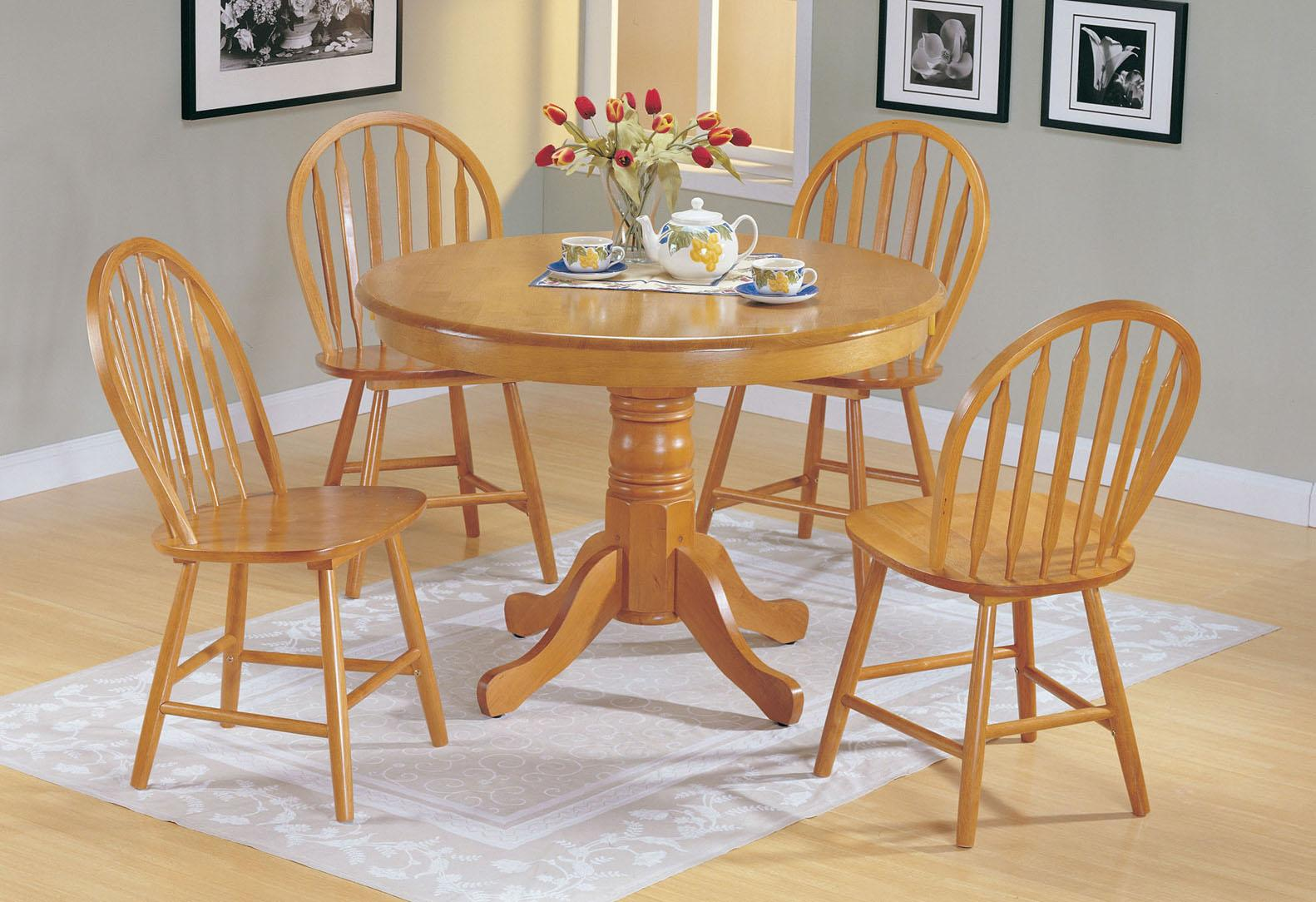 Acme Furniture Farmhouse Oak 5-Piece Round Dining Set - Item Number: 07021