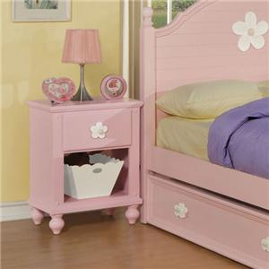 Acme Furniture Floresville Pink/Wh Flower Nightstand