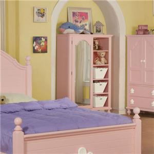 Acme Furniture Floresville Pink/Wh Flower Mirror Door Chest
