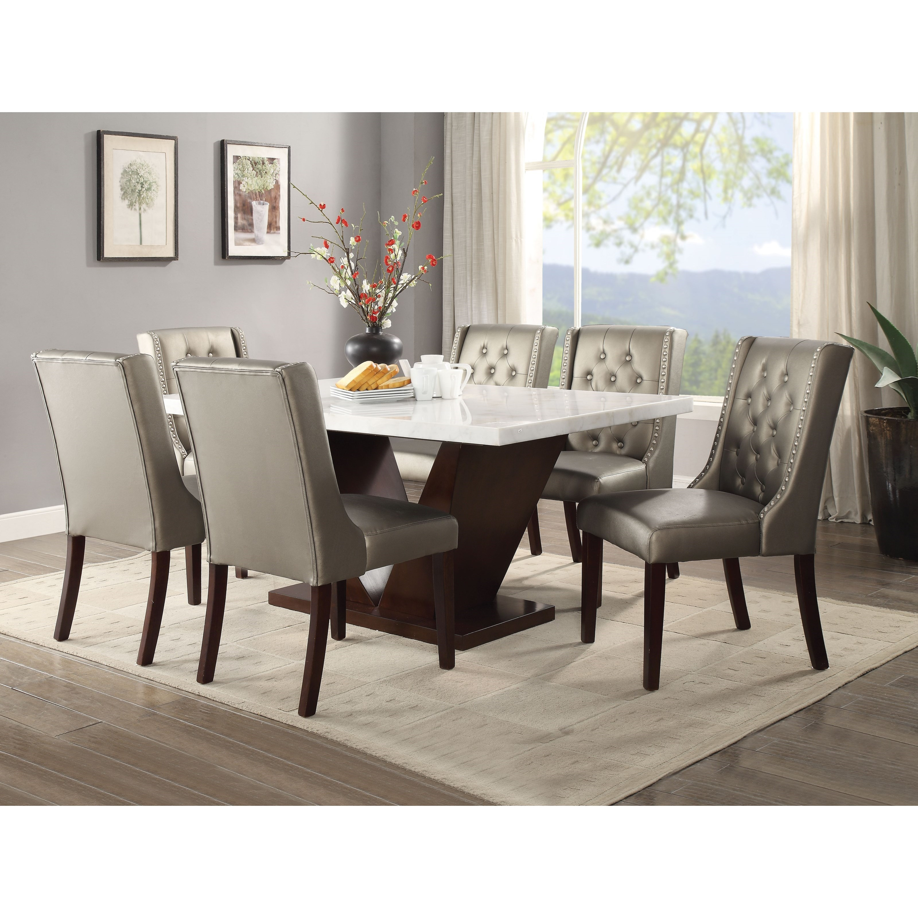 Acme Furniture Forbes 7 Piece Marble Top Dining Table Set Rooms For Less Dining 7 Or More Piece Sets