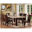 Acme Furniture Fraser Rectangular Leg Dining Table with Faux Marble Table Top - Shown with Coordinating Dining Chairs