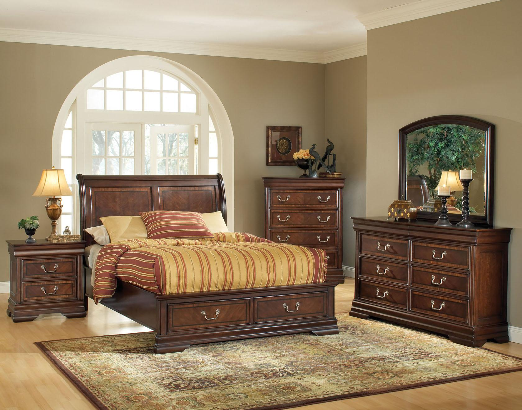Acme Furniture Hennessy Queen Bed Bedroom Group - Item Number: 19450Q-HB+19450Q-FB+50Q-RLS+55+54