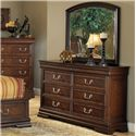 Acme Furniture Hennessy Traditional Dresser with Six Drawers and Bracket Feet - Shown with Mirror