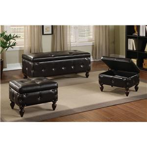 Acme Furniture Ibrahim Bench & 2 Ottomans