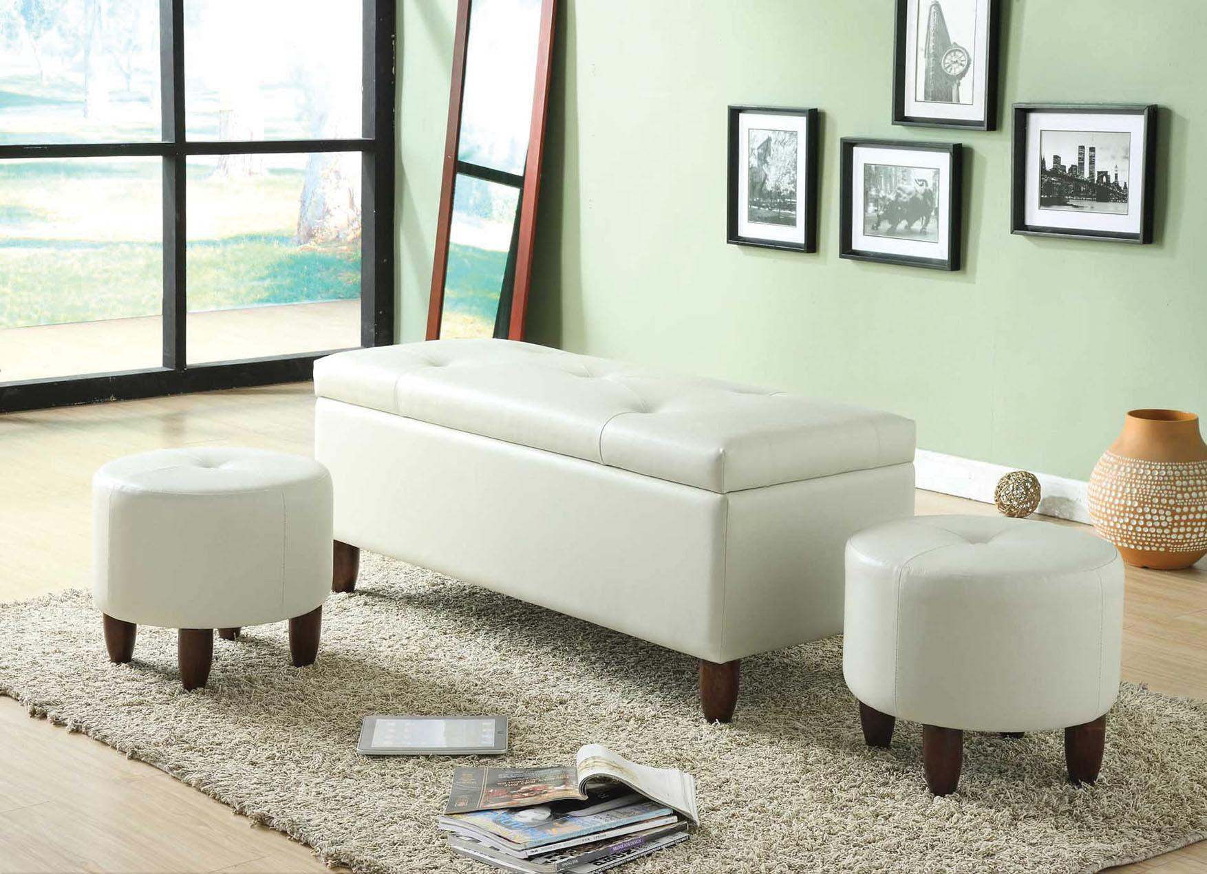 Acme Furniture Ibrahim  Bench & 2 Ottomans - Item Number: 96027