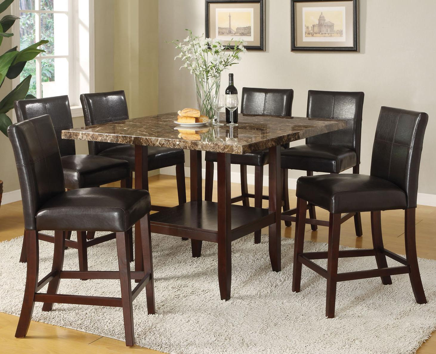 Acme furniture idris 7 piece counter height dining set for Square dinette sets