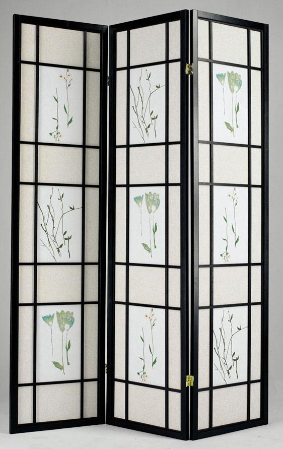 Acme Furniture Iola 3-Panel Wood Screen W/Drawings - Item Number: 02254