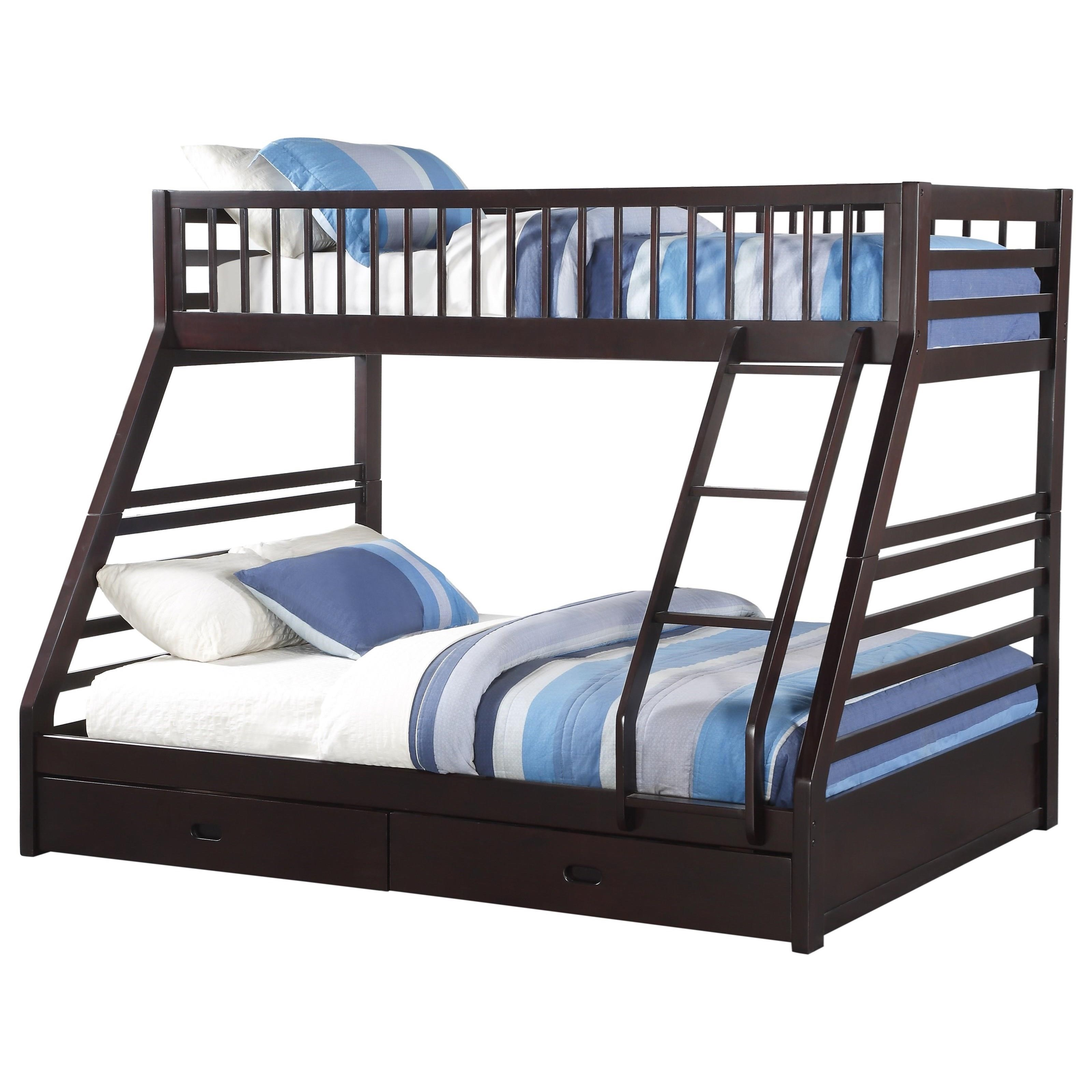 Picture of: Acme Furniture Jason Xl Twin Xl Queen Bunk Bed W Drw Dream Home Interiors Bunk Beds