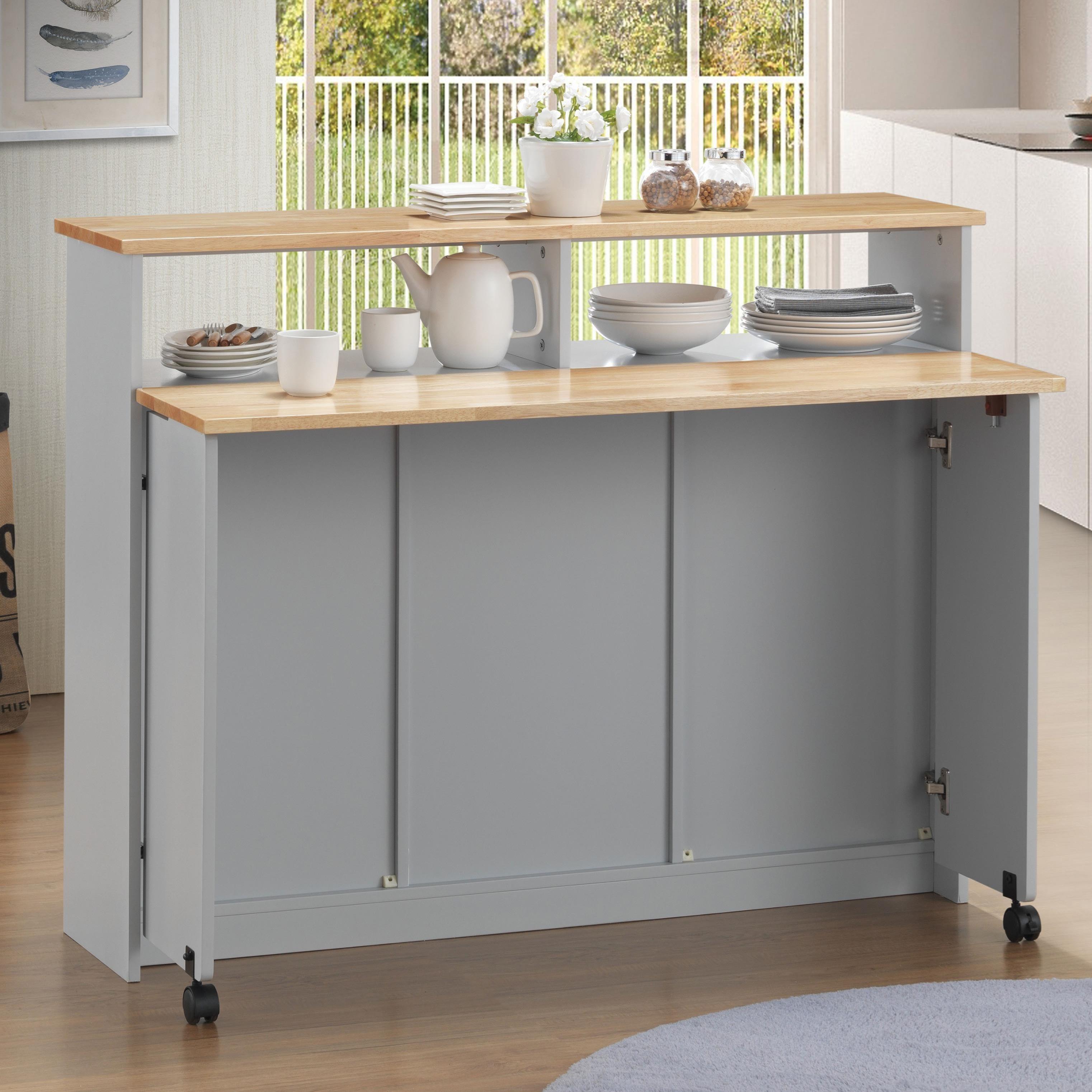 Acme Furniture Jorim 98398 Casual 11 Shelf Kitchen Island Cart With Drop Leaf And Casters Del Sol Furniture Kitchen Islands
