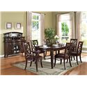 Acme Furniture Keenan Transitional Dining Side Chair - Shown with Table, Arm Chairs, and Server