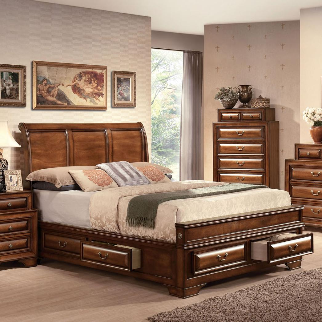 Acme Furniture Konane 20444ek Traditional Sleigh King Bed W Drawer Storage Del Sol Furniture