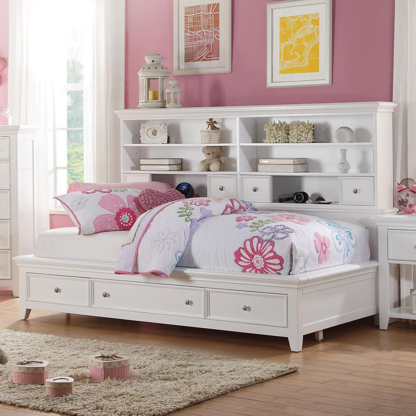 Acme Furniture Lacey 30595f Full Daybed With Bookcase And Footboard Storage Del Sol Furniture Daybeds