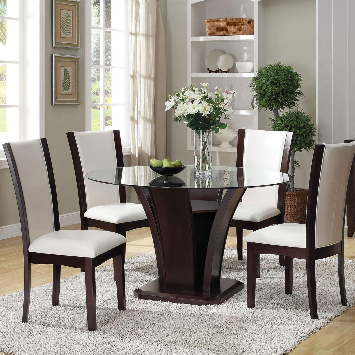 Acme Furniture Malik 5 Piece Dining Round Table And Chair Set