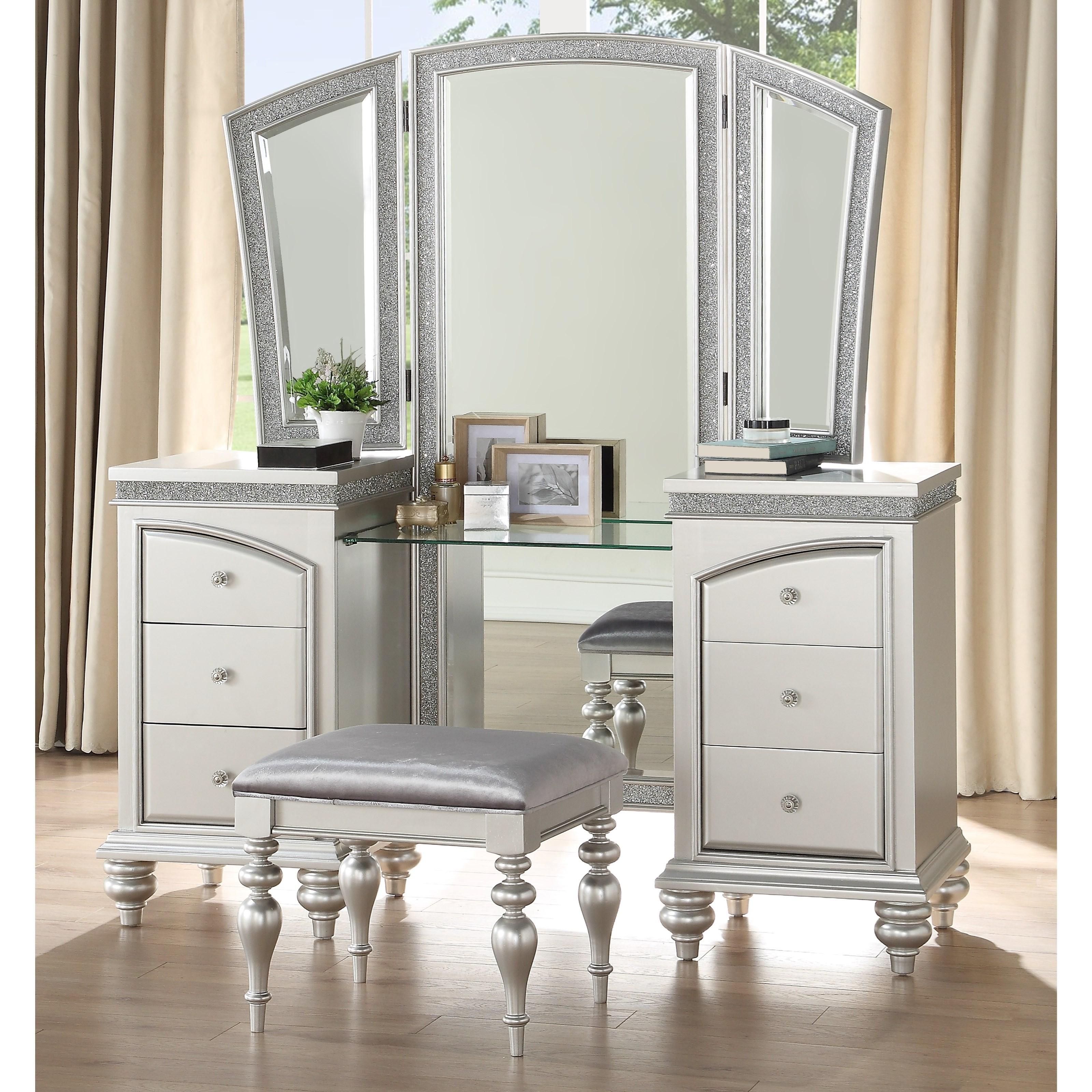 Acme Furniture Maverick Glam 6 Drawer Vanity Set Rooms For Less Vanities Vanity Sets