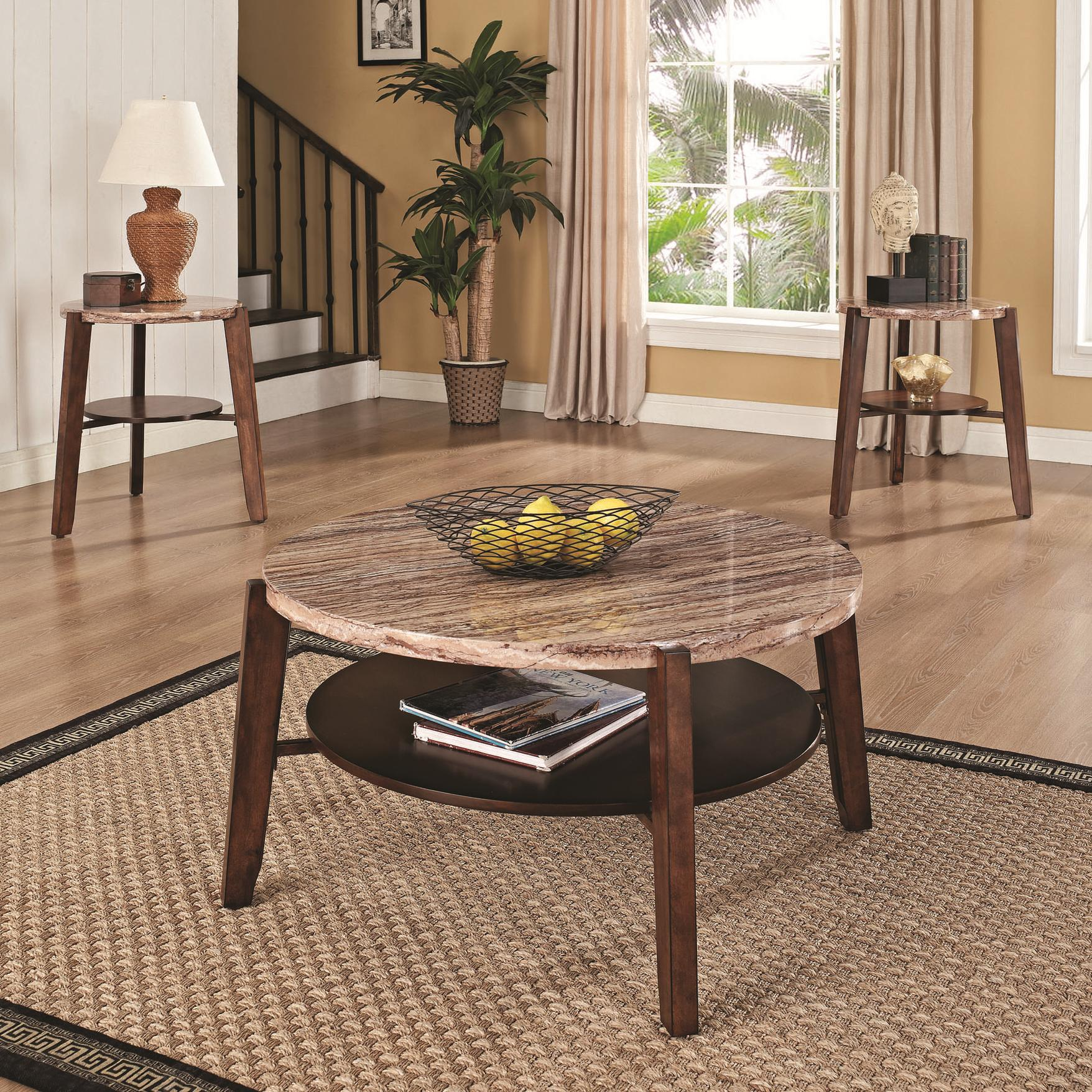 Acme Furniture Nadav Round Faux Marble 3-Piece Coffee/End Table - Item Number: 80083