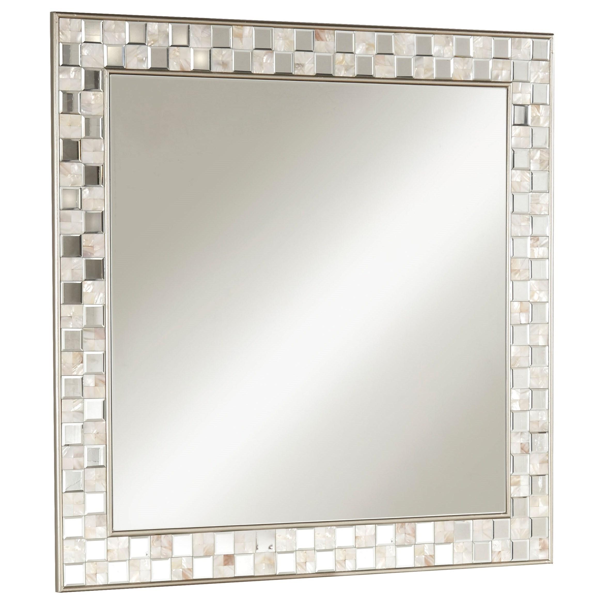 Acme Furniture 97388 Nasa Mirror Trim Square Accent Wall Mirror: Acme Furniture Nasa 97388 Glam Wall Mirror With Tile