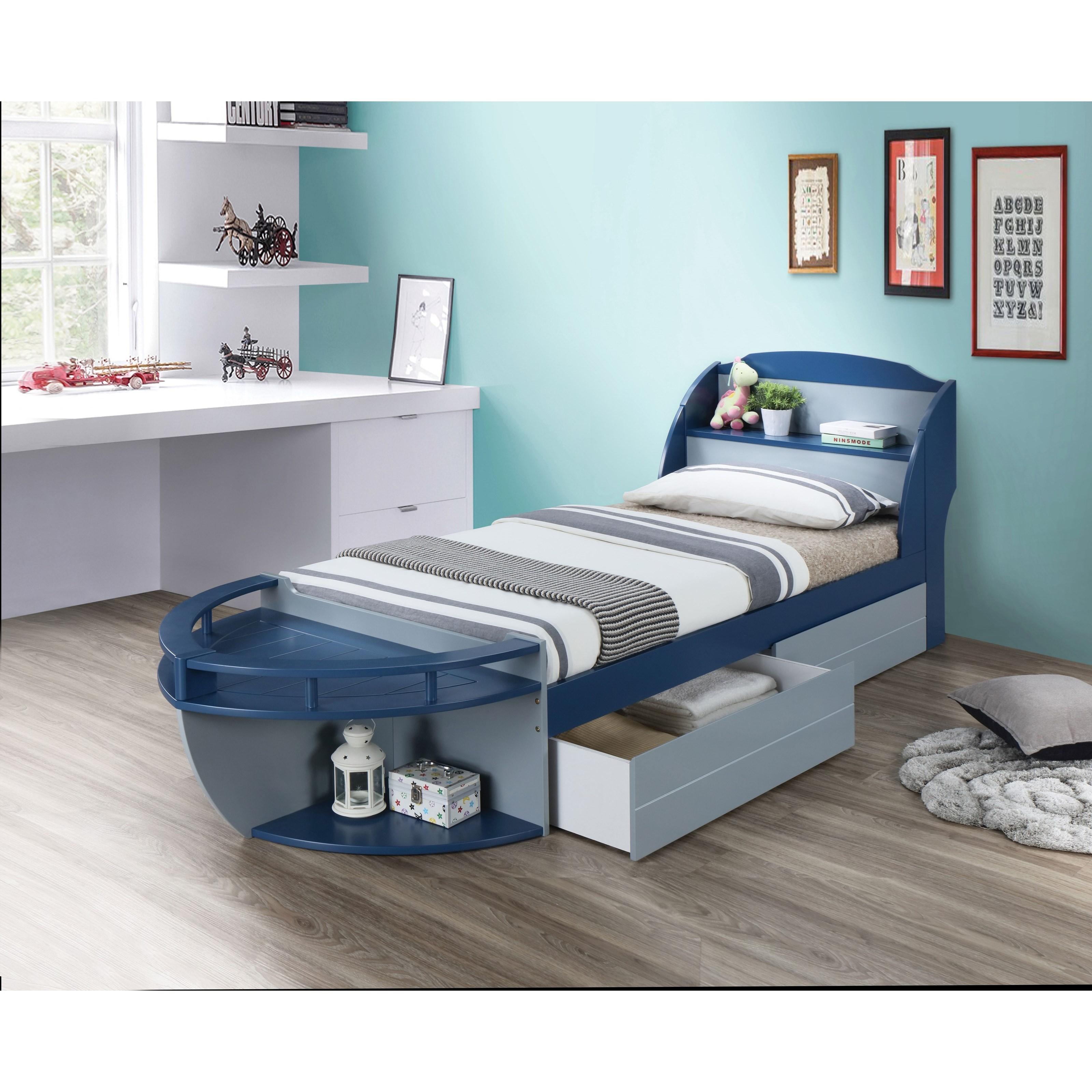 Acme Furniture Neptune Ii 30620t Twin Ship Bed With Headboard Shelf Storage Corner Furniture Platform Beds Low Profile Beds
