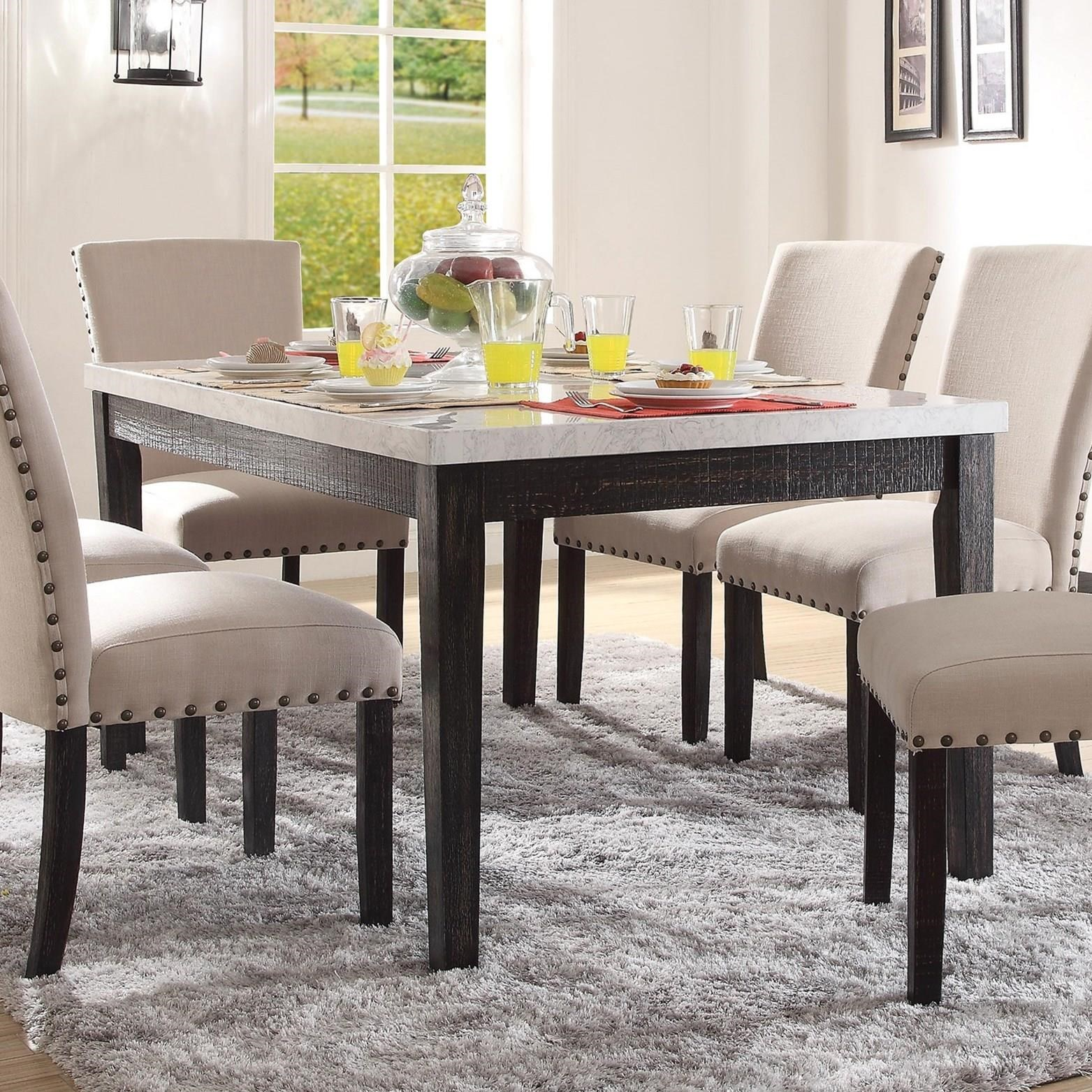 Acme Furniture Nolan 72850 Rectangular Dining Table With White Marble Top Del Sol Furniture Dining Tables