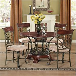 Acme Furniture Omari 5 Piece Round Table and Sidechair Set