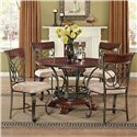 Acme Furniture Omari Traditional Round Pedestal Table with Metal Scrollwork - Shown with Side Chair