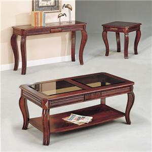Acme Furniture Overture 3-Piece C/E Table Set W/Gl