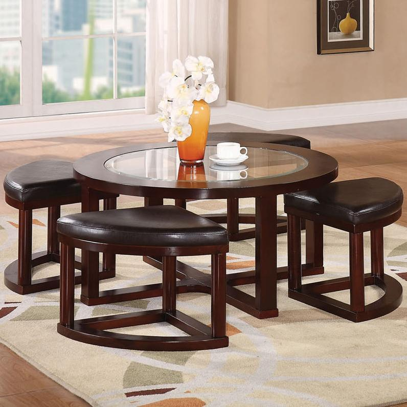 Acme Furniture Patia 5-Piece Coffee Table & Ottomans - Item Number: 80187