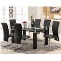 Acme Furniture Riggan Black Leg Table with Black Vinyl Chairs Set - Item Number: 60200+6X60203