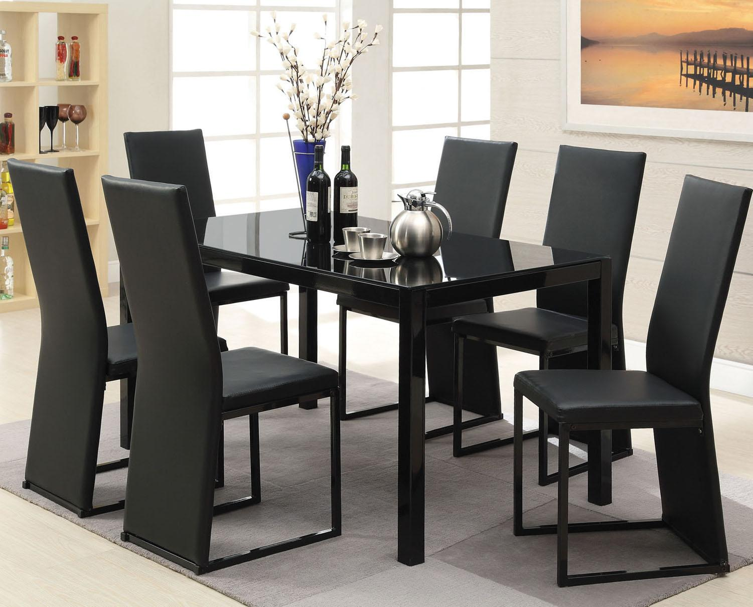 Acme Furniture Riggan Black Leg Table With Vinyl Chairs Set Item Number 60204