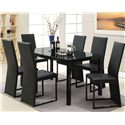 Acme Furniture Riggan Black Vinyl Side Chair with Square Dark Metal Legs - Shown with Table