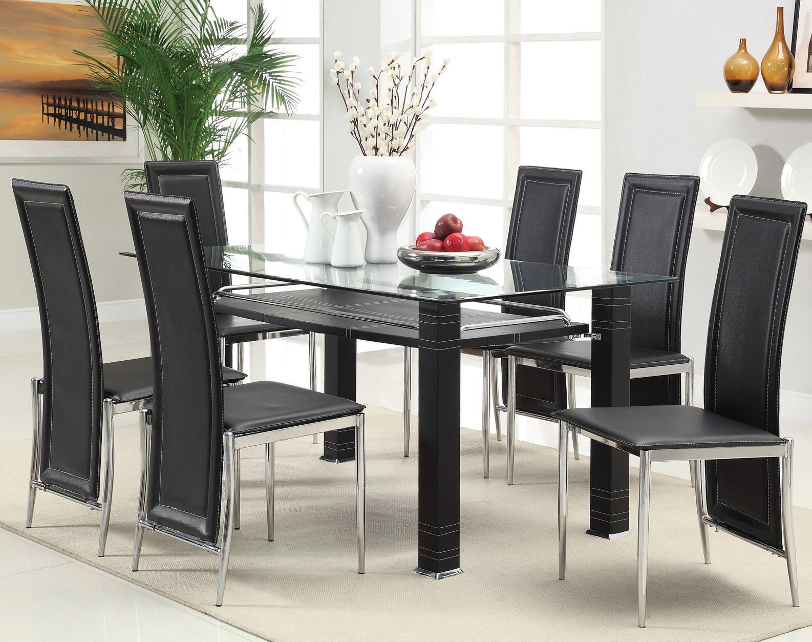 Acme Furniture Riggan Black Leg Table with Black Vinyl Chairs Set - Item Number: 60208+6X60211