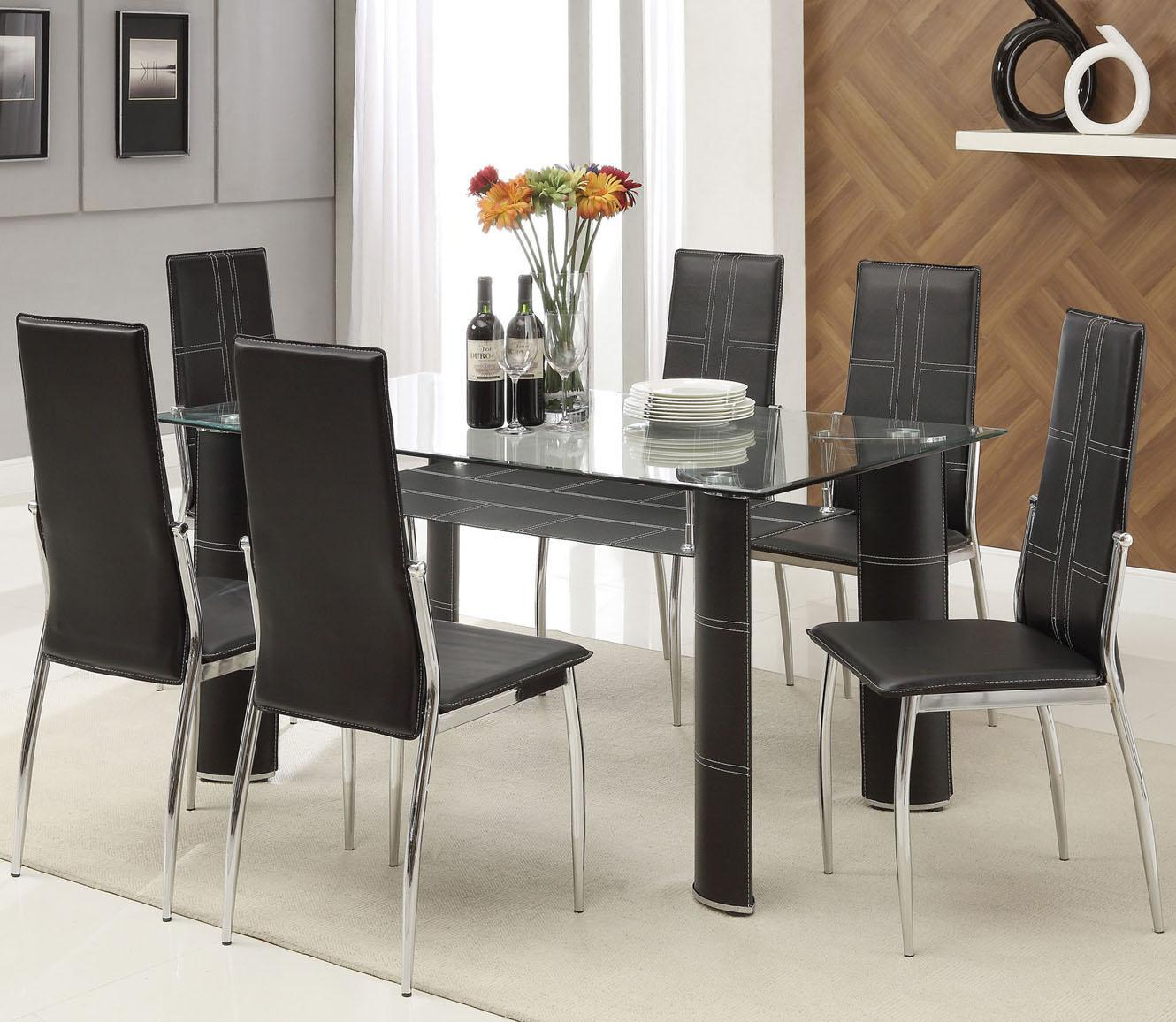 Acme Furniture Riggan Black Leg Table with Black Vinyl Chairs Set - Item Number: 70200+6X70202
