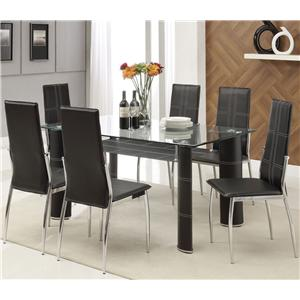 Acme Furniture Riggan Black Leg Table with Black Vinyl Chairs Set