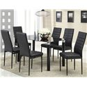 Acme Furniture Riggan Black Channeled Vinyl Side Chair with Tapered Legs - Shown with Table