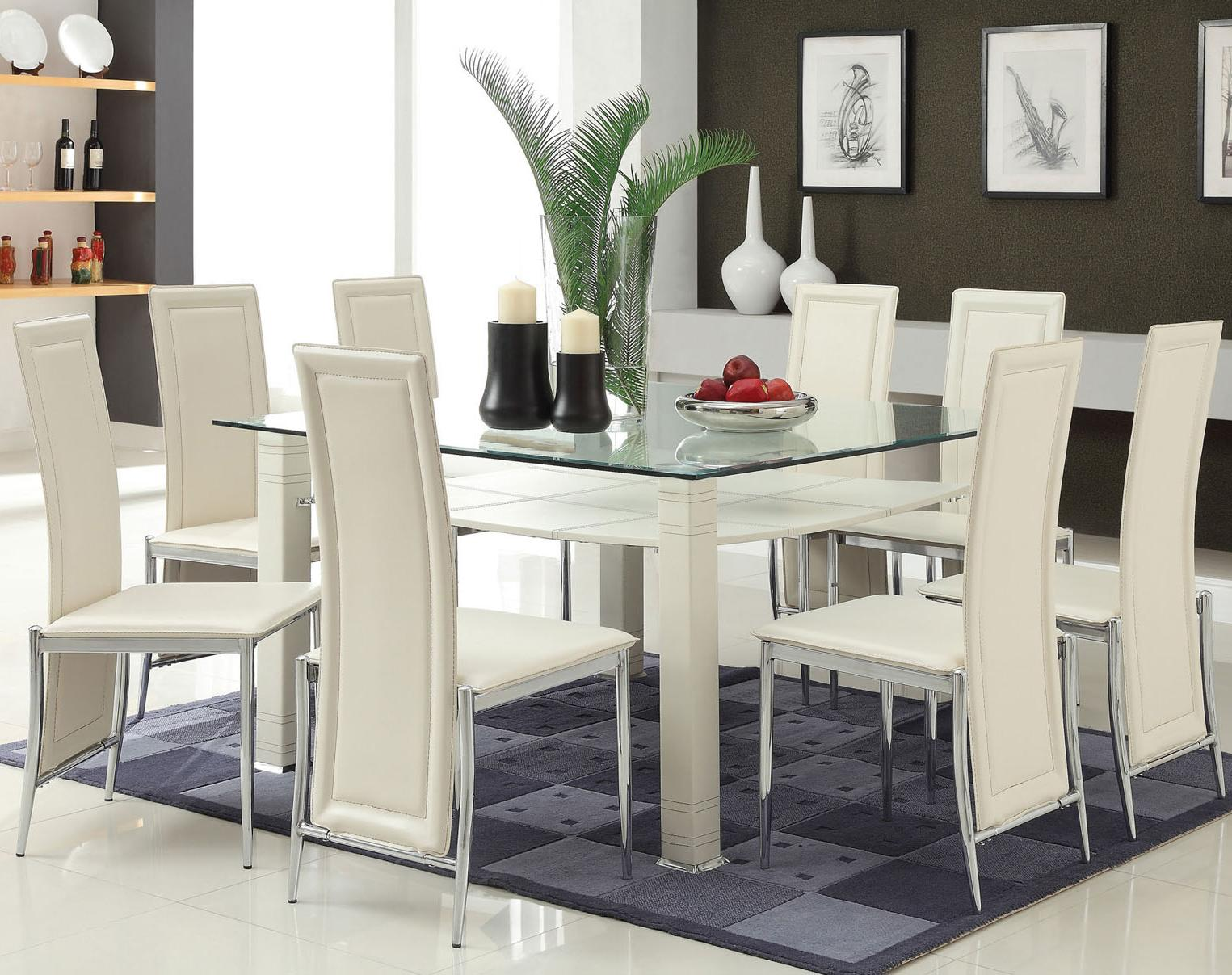 Acme Furniture Riggan White Leg Table with White Vinyl Chairs Set - Item Number: 70610+6X70612