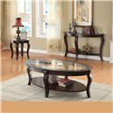Acme Furniture Riley Transitional Oval Sofa Table W/Glass - Shown with End Table and Coffee Table