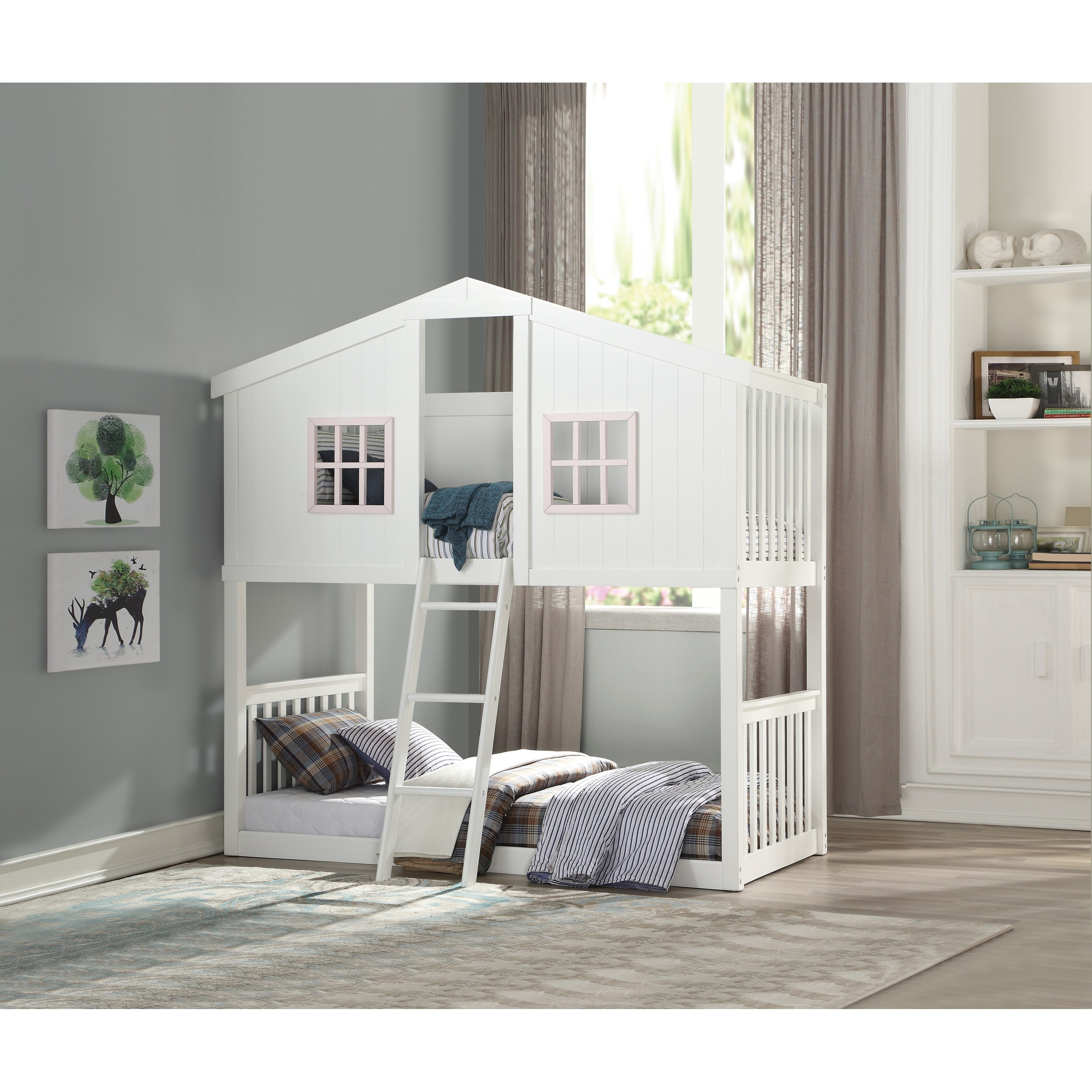 Picture of: Acme Furniture Rohan Cottage White Twin Twin Bunk Bed In Cottage Style With Pink Accents Dream Home Interiors Bunk Beds