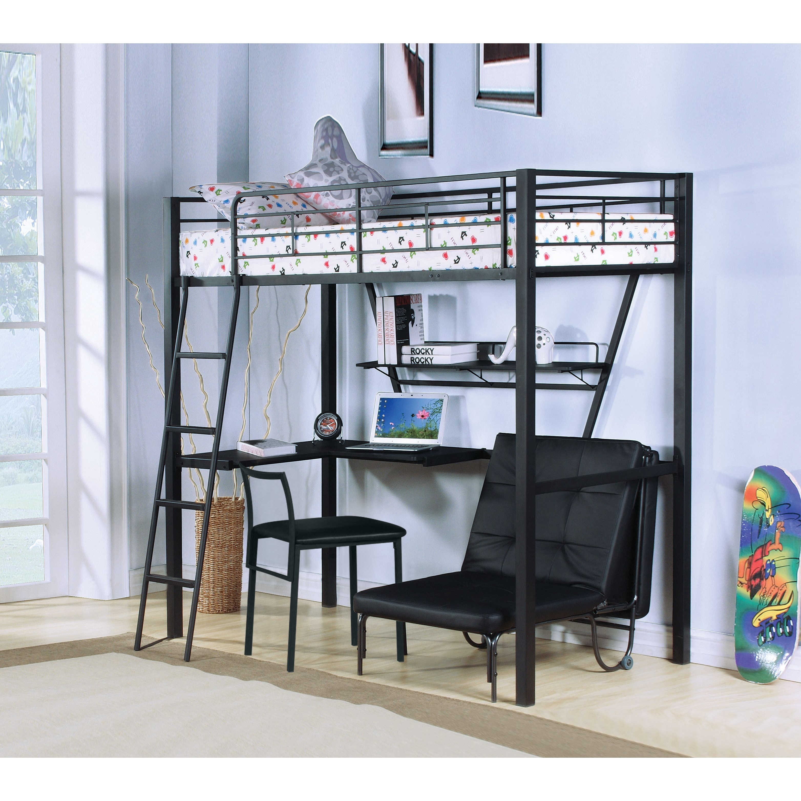Picture of: Acme Furniture Senon 37275 Contemporary Metal Twin Loft Bed Desk Del Sol Furniture Loft Beds