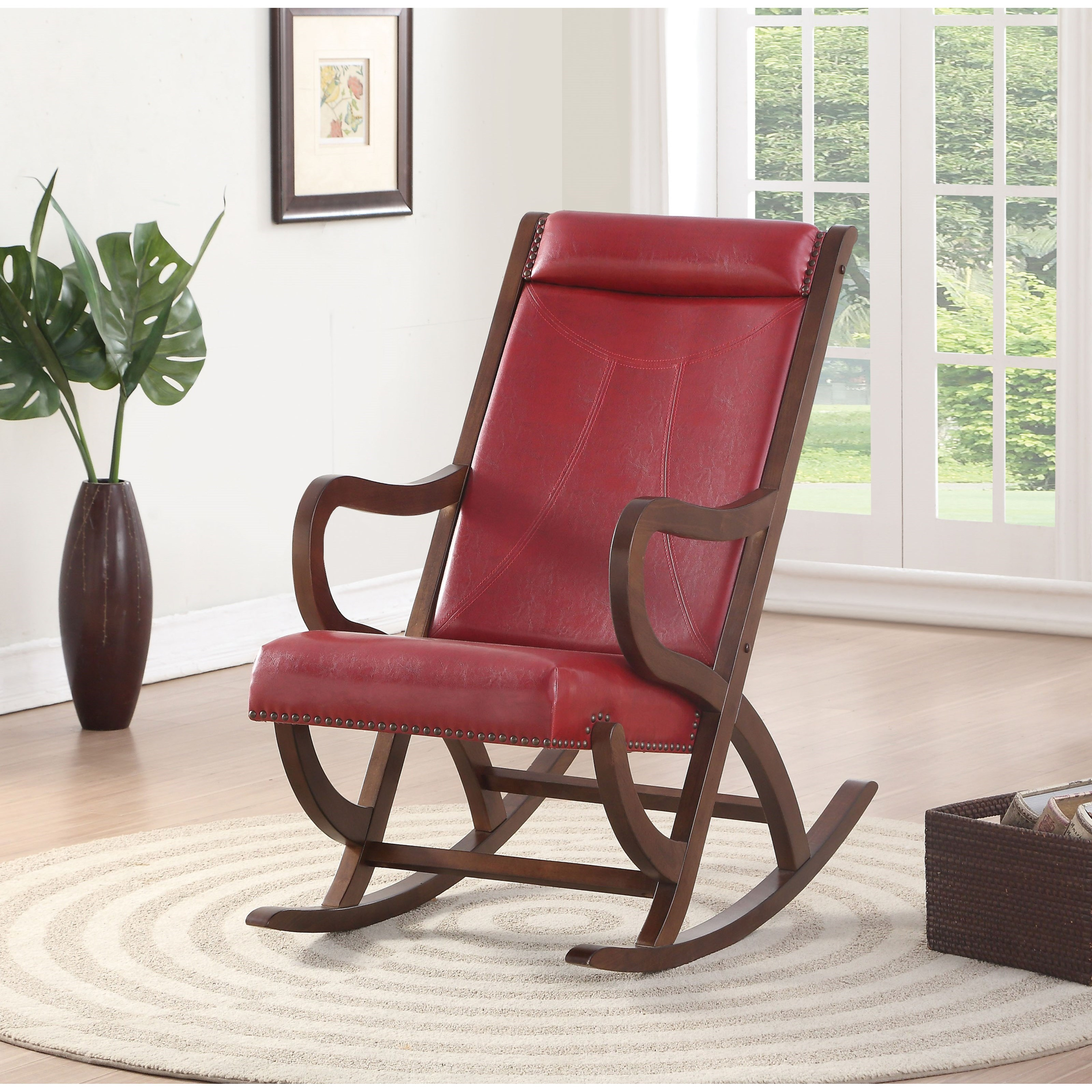 Acme Furniture Triton Contemporary Rocking Chair With Nailhead Trim A1 Furniture Mattress Wood Rockers