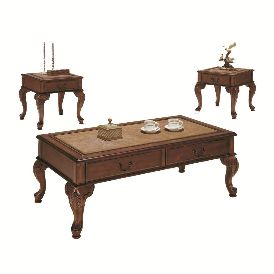 Acme Furniture Trudeau 3-Piece C/E Table SetWith False Drawer A - Item Number: 09652