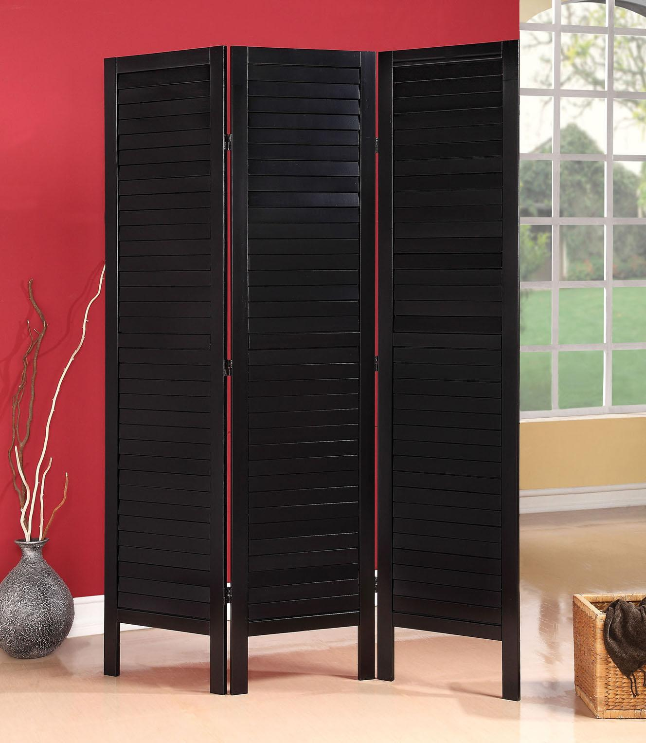 Acme Furniture Trudy Black 3-Panel Wooden Screen - Item Number: 98024