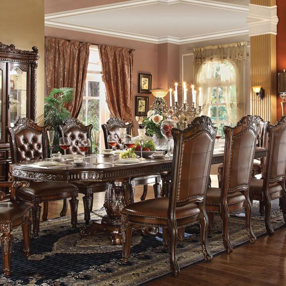 Vendome Traditional Formal Dining Room Cherry Finish: Acme Furniture Vendome 62000 Double Pedestal Dining Table