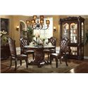 Acme Furniture Vendome 5 Piece Single Pedestal Table and Chairs Set