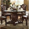 Acme Furniture Vendome Pedestal Dining Table with Glass Top - Item Number: 62010+07800GL