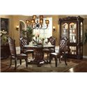 Acme Furniture Vendome Pedestal Dining Table with Tempered Glass Top